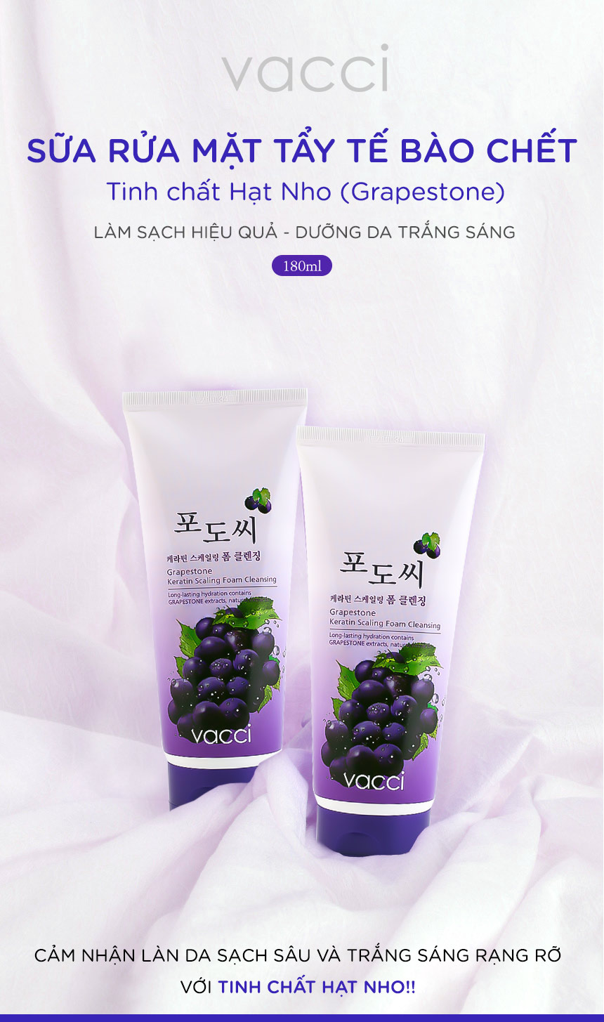 Sữa rửa mặt chất Hạt nho Vacci Grape Seed Foam Cleansing 180ml
