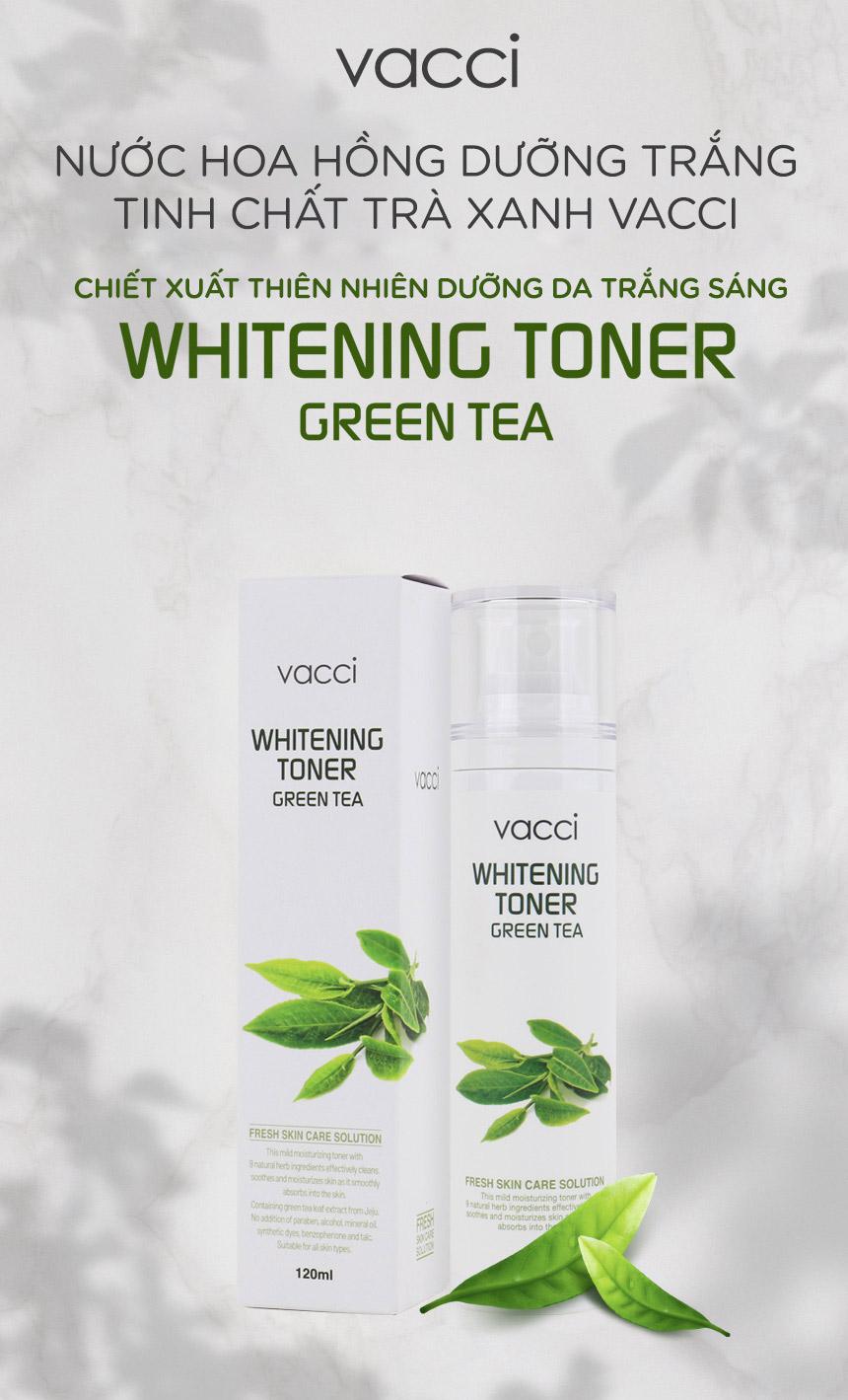 Nước hoa hồng dưỡng trắng da tinh chất Trà xanh VACCI